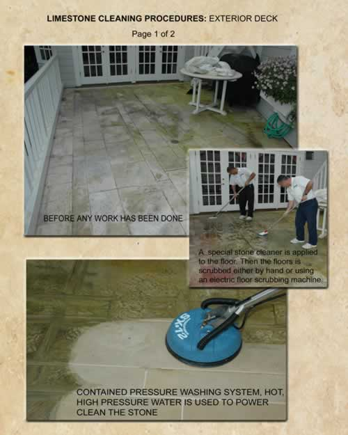 Limestone Cleaning Procedures Exterior Deck 1