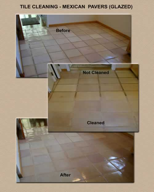 Tile Cleaning Mexican Pavers - Glazed