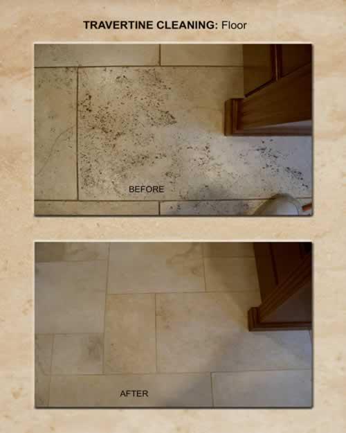 Travertine Cleaning: Floor 1